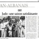 Cusy Judo : une saison satisfaisante - Le Dauphiné Libéré - 8 mai 2007