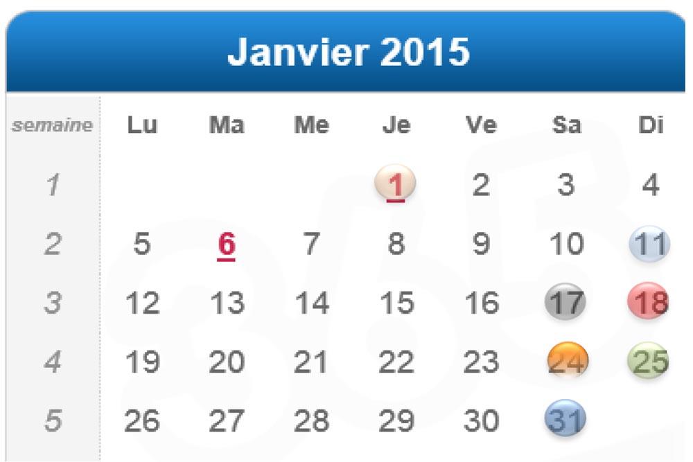 Calendrier Cusy Judo Janvier 2015